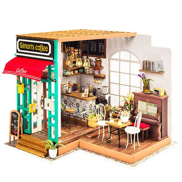 Miniature Model Coffee Shop [Simon's Coffee House] Rolife Doll house Wooden Room Kit