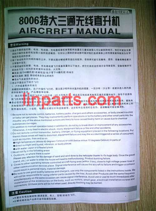 GT model QS8006 Spare Parts: English manual book