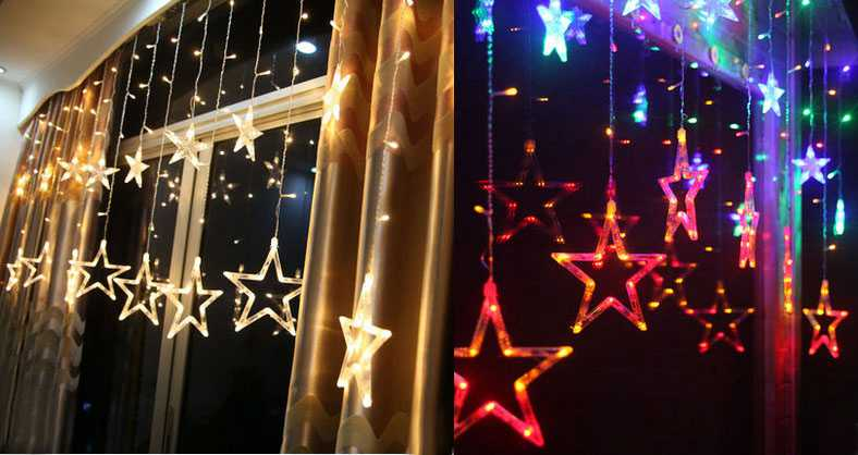 Five-pointed star LED decorative lights [2m wide, 1m high]
