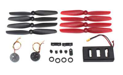 MJX Bugs 6 Brushless Drone Spare Parts: Motor[Forward + Reverse] 2pcs+ Black Blade 1set+ Red Blade 1set+ Accessories Kit 1set + Battery 1pcs