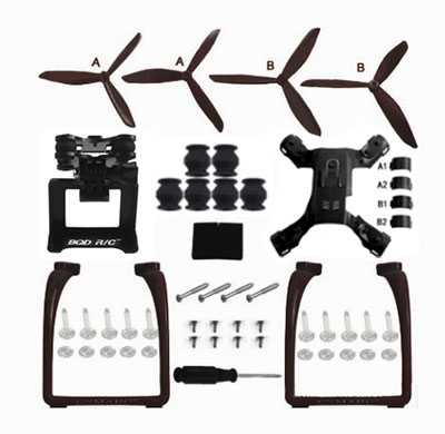 MJX Bugs 2C Brushless Drone Spare Parts: Upgraded version Upgrade portable stand + triangular Blades set + PTZ + Lower board(Black)