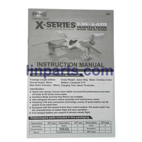 MJX X300C FPV 2.4G 6 Axis Headless Mode RC Quadcopter With HD Camera Spare Parts: Manual book