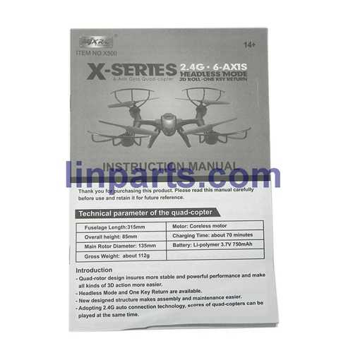 MJX X500 2.4G 6 Axis 3D Roll FPV Quadcopter Real-time Transmission Spare Parts: Manual book