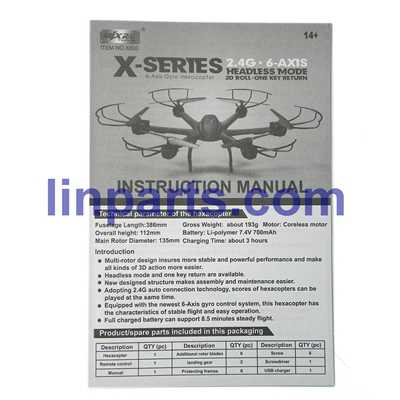 MJX X601H X-XERIES RC Hexacopter Spare Parts: Manual book