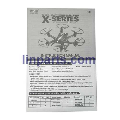 MJX X800 2.4G Remote Control Hexacopter 6 Axis Gyro 3D Roll Stumbling UFO Spare Parts: Manual book