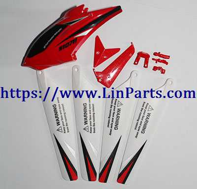 SYMA S107H RC Helicopter Spare Parts: Head cover + main blade + tail decoration [Red]