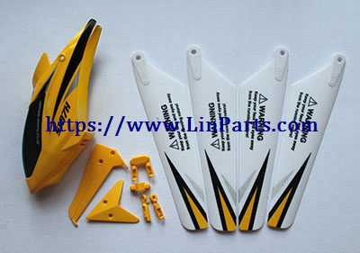 SYMA S107H RC Helicopter Spare Parts: Head cover + main blade + tail decoration [Yellow]
