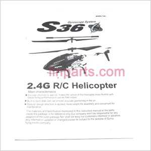 SYMA S36 Spare Parts: Manual book