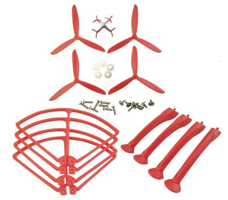 SYMA X8G Quadcopter Spare Parts: 4PCS Blades set + 4PCS Support plastic bar + 4PCS Outer frame(Red)