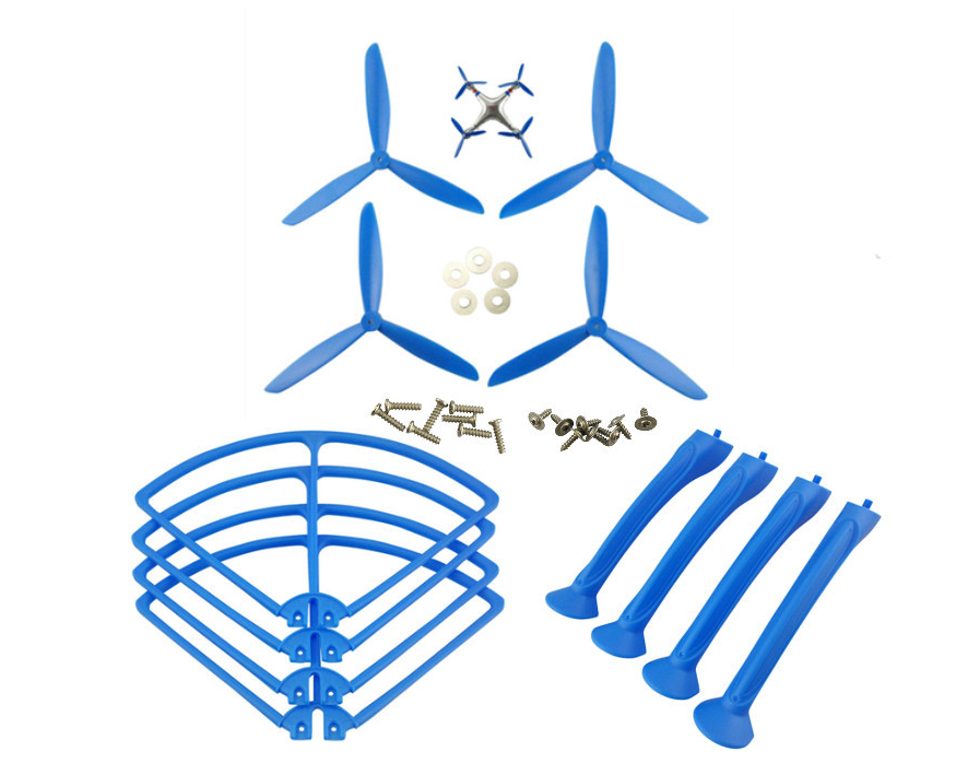 SYMA X8G Quadcopter Spare Parts: 4PCS Blades set + 4PCS Support plastic bar + 4PCS Outer frame(blue)