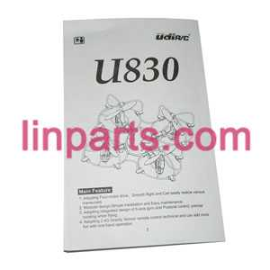 UDI RC QuadCopter Helicopter U830 Spare Parts: English manual book