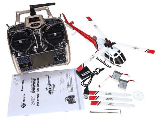 WLtoys V931 2.4G 6CH Brushless 3 Props AS350 Scale Flybarless RC Helicopter RTF